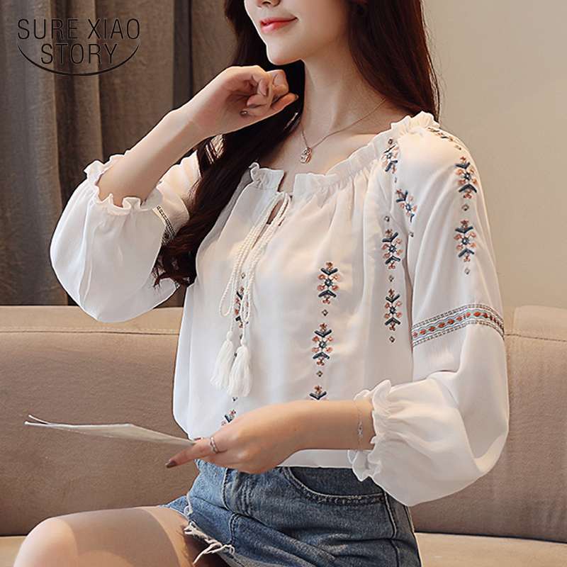 women tops  women blouses long sleeve chiffon white embroidery womens tops and blouses  blusas mujer de moda2019 spring 2044 50