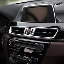 In Fibra di carbonio Style Car Center Console di Aria Condizionata Presa di Cornice Per BMW X1 F48 2016-18 ABS Interno Modificato decalcomanie