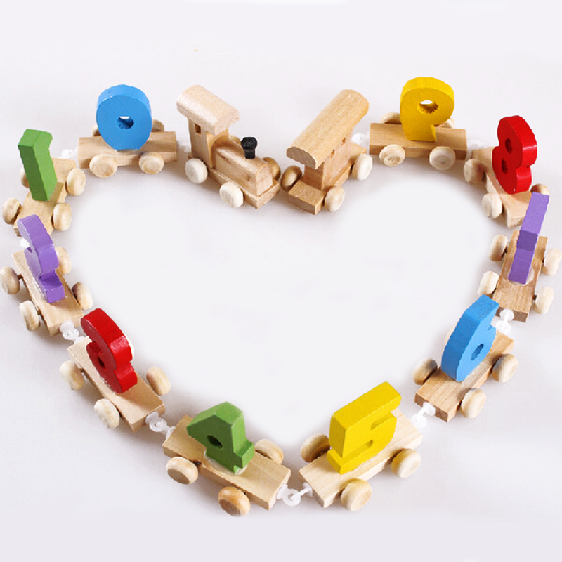 1 set wooden train digital cognitive children educational model building kits toys early learning childhood baby