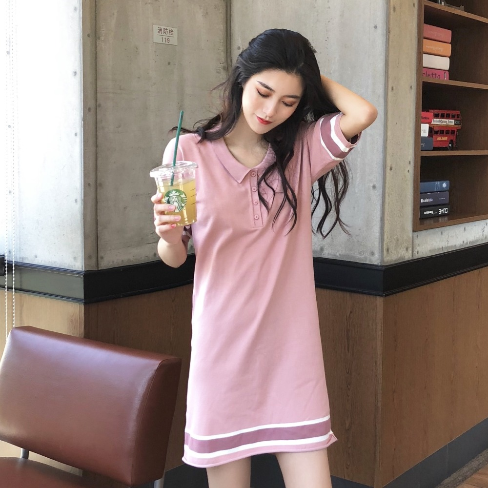 2018 Summer Sweet Cute Girl Students Women Loose Polo T Shirt Dress