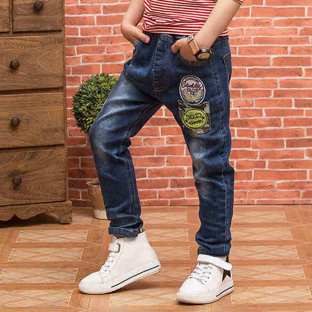 2016 осень новых Корейских детей мальчиков случайные джинсы стрейч джинсовые брюки детские джинсы