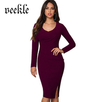 VEEKLE Elegant O Neck Brief Dresses 2017 Spring Summer Long Sleeve Tunic Office Bodycon Vintage Women