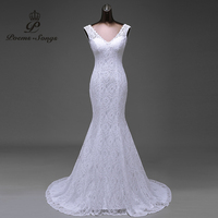 Real Photo Silky Organza And Lace Flowers Very Sexy Backless Mermaid Wedding Dresses Vestidos De Noiva