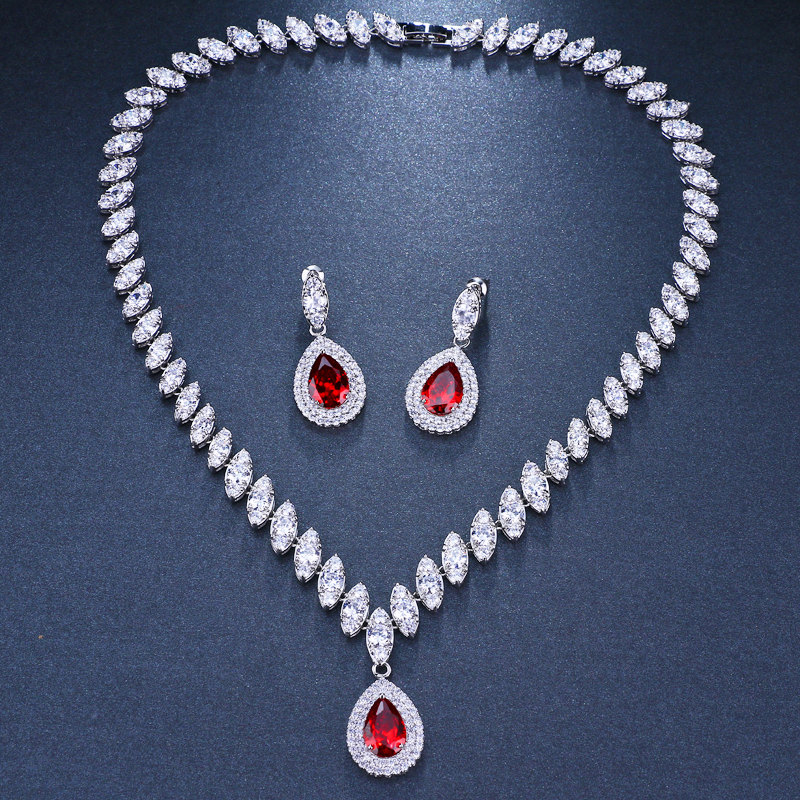 Emmaya Simulated Bridal Jewelry Sets Silver Color Necklace Sets 4 Colors Wedding Jewelry Parure Bijoux Femme 6