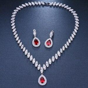Image 5 - Emmaya Simulierte Brautschmuck Sets Silber Farbe Halskette Sets 4 Farben Hochzeit Schmuck Parure Bijoux Femme