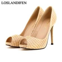 цена на New Arrival Fashion Less Platform Pumps Sexy Stiletto High Heels Shoes Peep Toe Lady Shoes White Black Wedding Shoes NLK-A0080