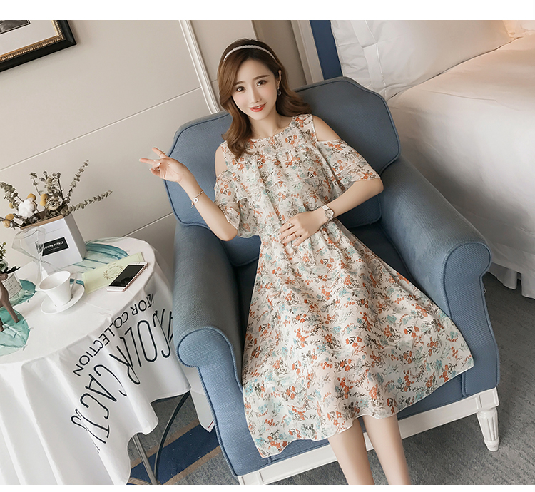 Pregnant Nursing Dress Off Shoulder print Maternity Breastfeeding Dresses For Photo Shoot Chiffon Maternity Dress Party Clothes 84