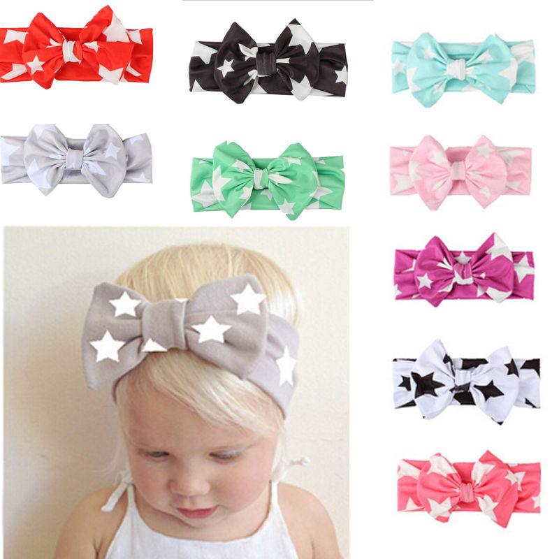 Повязка на голову с бантом и звездочкой для маленьких девочек, 9 шт., повязка для волос с бантиком, повседневные аксессуары для волос