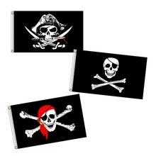 Пиратский флаг 60x90 см бязь флаг хэллоуин веселый роджер череп флаг полиэстер баннер флаги и баннеры домашний декор