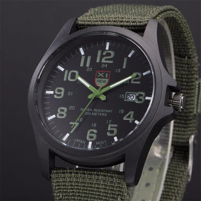 XINEW Band Hot Sell Outdoor Mens Date Stainless Steel Military Sports Analog Quartz Army Wrist Watch Dropshipping 0803 4