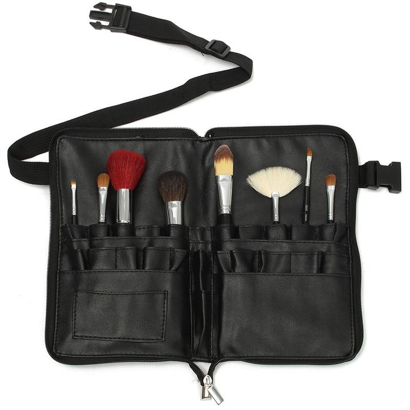 1pcs Professional PVC Makeup Brushes Apron Bag Artist Belt Strap Black 28 Pockets Make Up Brush Holder Cosmetic Tools Organizer utah bbq apron tote pro black