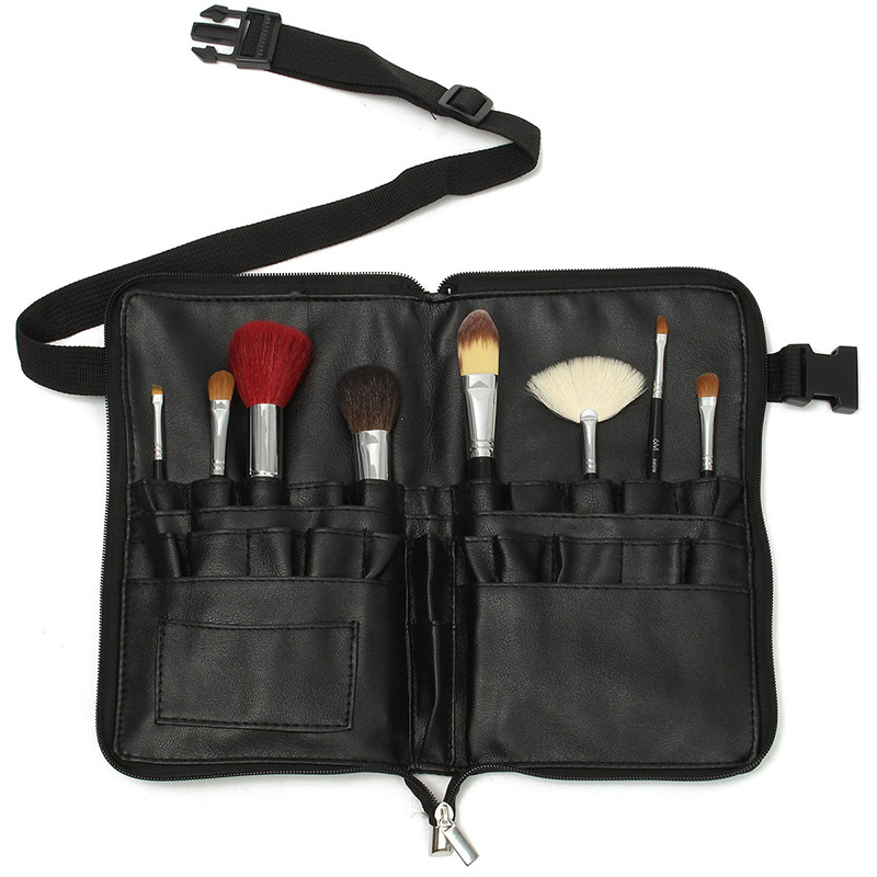 1pcs Professional PVC Makeup Brushes Apron Bag Artist Belt Strap Black 28 Pockets Make Up Brush Holder Cosmetic Tools Organizer