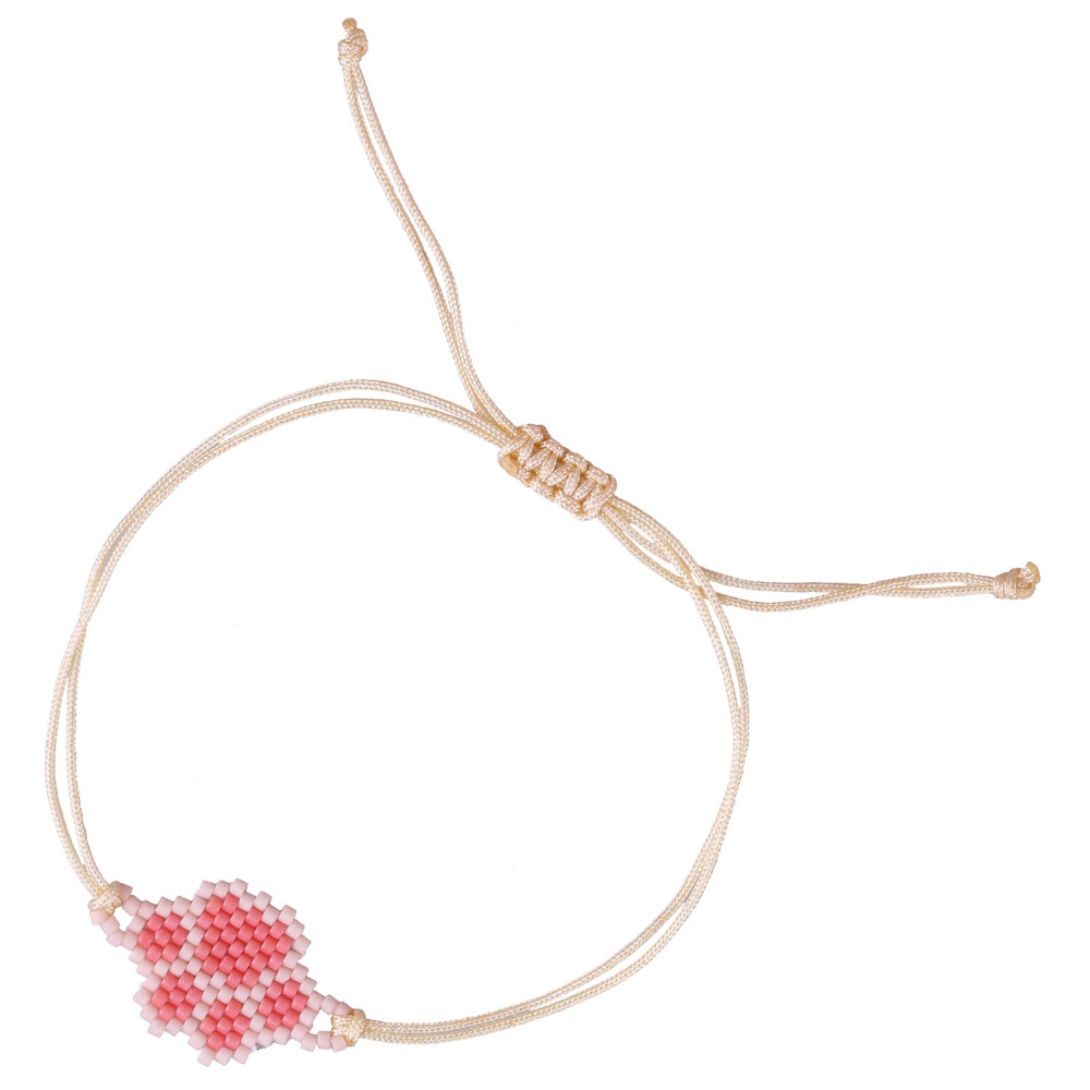 C.QUAN CHI Jewelry Bears Paw Pink Crystal Seed Beads Weave Rope Children Girl Friendship Bracelets Handmade Charm String Bangle