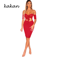 Kakan 2019 summer new womens dress openwork tube top bow big red pink blue