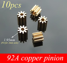 Free Shipping 10PCS 92A Copper Pinion 9T Metal Gear 0.5M 9 Teeth Motor Pinion Spare Part For DIY Model steel metal motor pinion gear 17t 0 8 module for 1 10 himoto e10xt e10xtl katana truggy spare parts