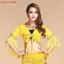 Женский костюм для танца живота кружевной короткий рукав золотые монеты Топы И Футболки индийская одежда топы для танца живота