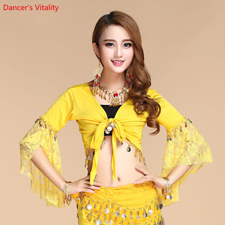 New Women's Belly Dance Costume Lace Short Sleeve Gold Coins Tops & Tees Indian Clothing Belly Dance Tops