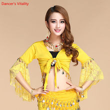 New Women's Belly Dance Costume Lace Short sleeve Gold Coins Tops & Tees Indian Clothing Belly Dance Tops(China)