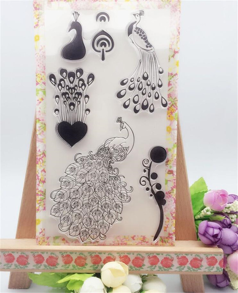 2016 new paper craft beauty peacock stamps Scrapbook DIY Photo Album silicone clear Stamps for christmas gift CL-234 jwhcj vintage cat date wood roller stamps for children diy handmade scrapbook photo album diary book decoration students stamps