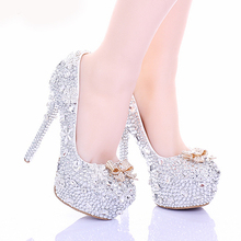 Cinderella High Heels Crystal Wedding Shoes 14cm Thin Heel Rhinestone Bridal Shoes Round Toe Formal Occasion Prom Shoes