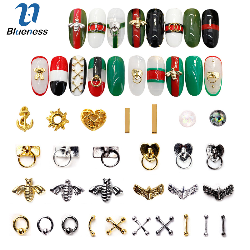 20/100Pcs Metal Gold stick Gold Silver Copper Bee Wing Studs For Nails Design Charms Manicure 3D Nail Art Decorations blueness 1000 pcs s gold silver copper studs for nails glitter metal scrub design charms 3d decorations nail art pj495 521