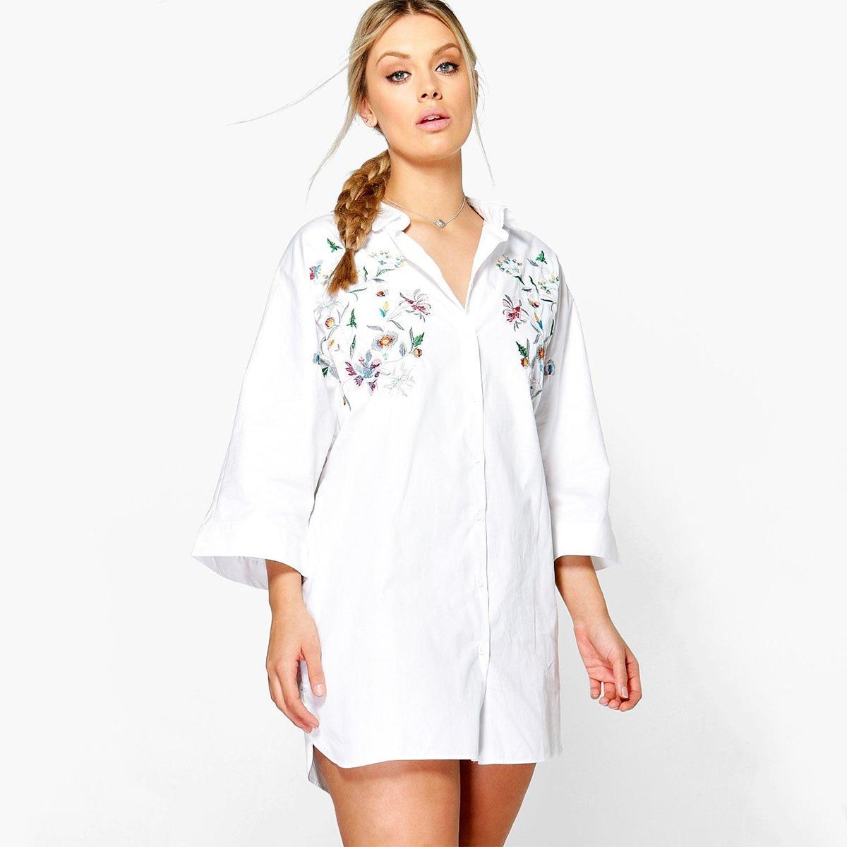 MCO Fashion Floral Emboridered Top Oversized Basic Plus Size Women Clothing Classic Big Kimono Shirt 5xl 6xl 7xl OL Long Blouse 1