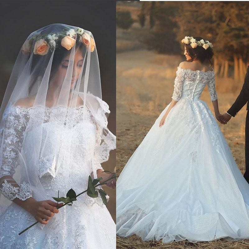Romantic Boat Neck Long Sleeve Lace Wedding Dress White Country