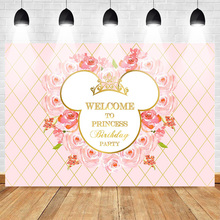 Welcome to Princess Birthday Party Backdrop for Photography Newborn Flower Background Pink Crown Mickey Mouse Headshot