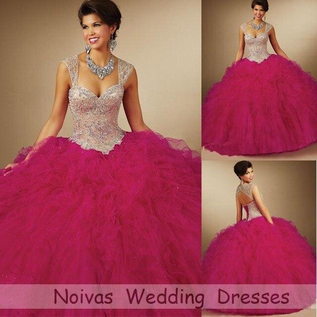 96d1d789b Vestidos De Quinceaneras 2015 Elegant Crystals Hot Pink Quinceanera Dresses  Ball Gowns Masquerade Sweet 16 Dresses 2015 Unique