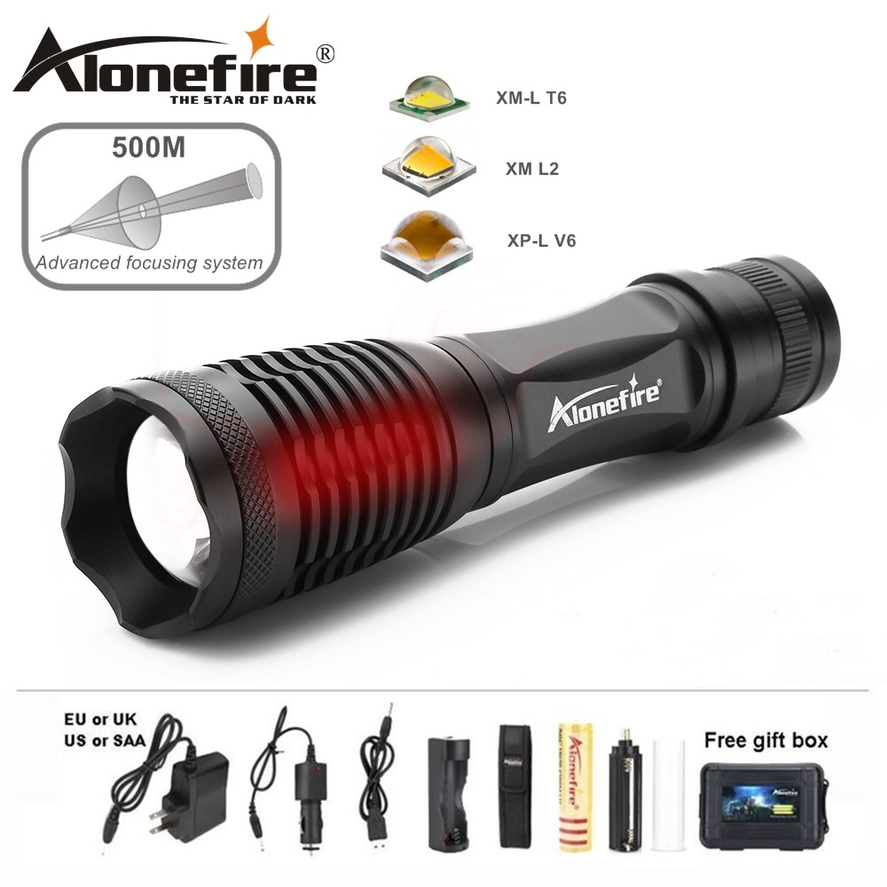 AloneFire E007 xm-l2 led flashlight L2 8000LM lanternas torcia linterna led18650 flash ligh Zoomable Hunting Camping