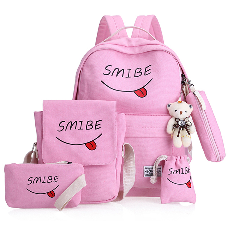 Women Canvas 6Set Backpack Printing Students Bookbag 5 Pcs School Bag Set For Youth Girls With Purse Bear Mochila shoulder bags hynes eagle 3 pcs set 3d letter bookbag boys backpacks school bags children shoulder bag mochila girls exo printing backpack