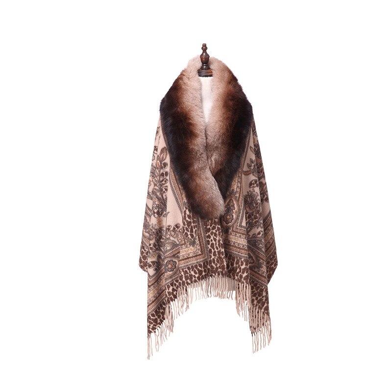 ZY87041 Design spécial luxueux cachemire en forme d'arc col de renard Double impression hiver noël femmes châle enveloppe Pashmina