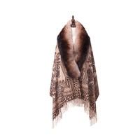 ZY87041 Special Design Luxurious Cashmere Arc Shaped Fox Collar Double Print Winter Christmas Women Shawl Wraps Pashmina