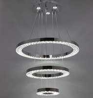 Modern LED Crystal Chandelier 3 Ring Lustre Lamp Dinning Room Living Room LED Round Circle Dimmable