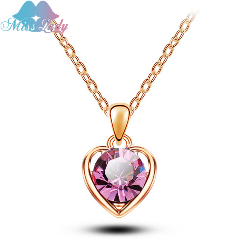 Miss Lady Rose Gold color Austrian Crystal Heart love Pendant Necklaces Wholesales Fashion Jewelry for women MLY5351
