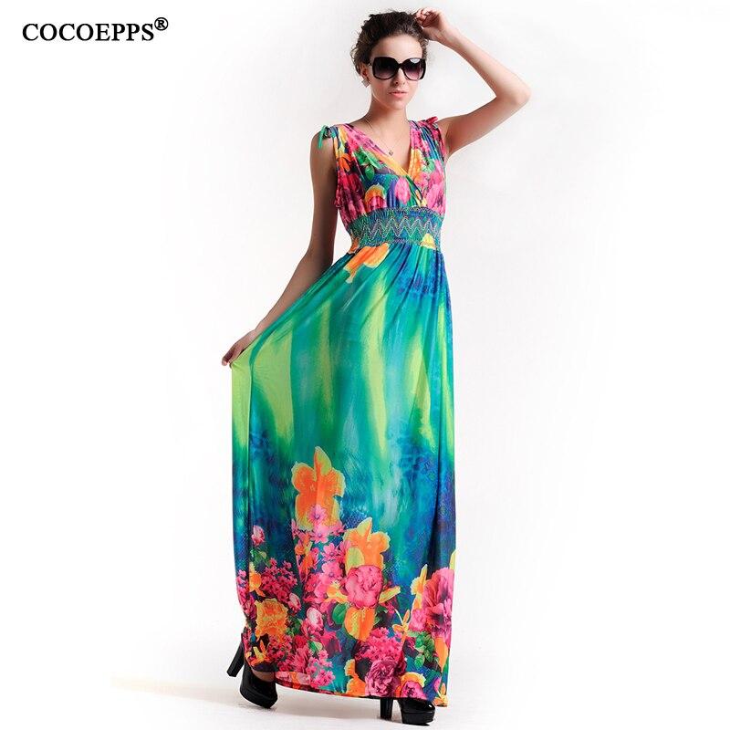 Women Floral Big Size Long Dress Off Shoulder Deep V-neck Backless Sexy Maxi Dress 4XL 5XL Beach Dress plus size Women clothing