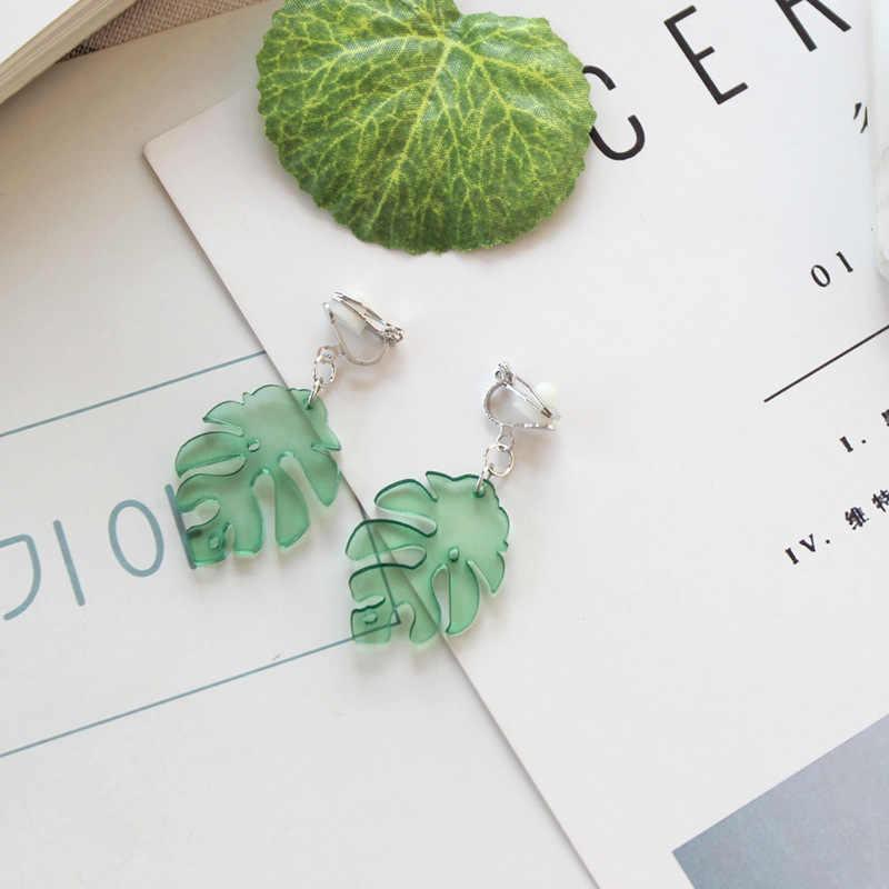 Mode Ohrringe Literarischen Frische Licht Grüne Blätter Acryl Temperament Ohrringe für Frauen Beiläufige Campus Party Sommer Ohrringe