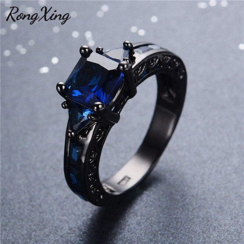 Prix pour RongXing Antique Conception Bijoux Femmes Anneau De Mariage Anel Princesse Cut Bleu CZ Noir Or Rempli Bagues de Fiançailles Sz6-10 RB0050
