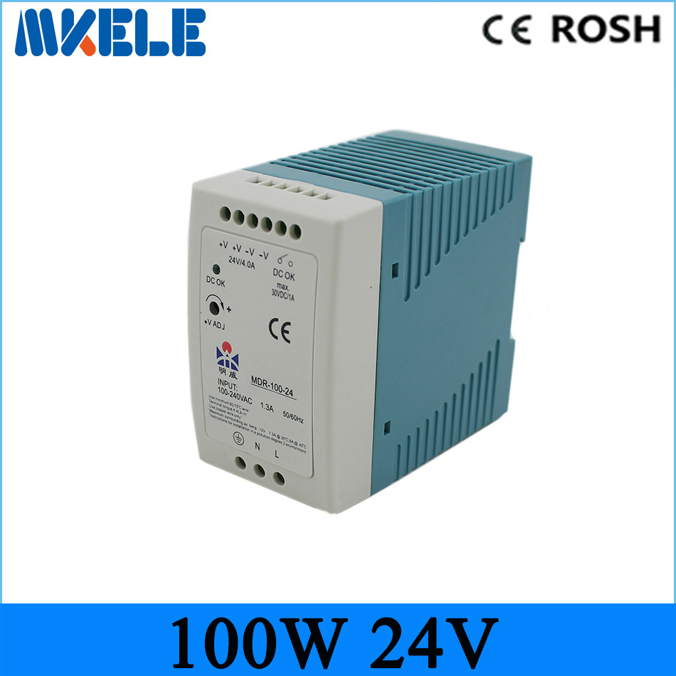 ФОТО 24v 100w ac dc power supply MDR-100-24 single output switching Power Supply for led drivr