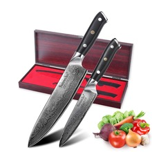 SUNNECKO 2PCS Kitchen Knives High Grade Gift Box Set Chef Knife Japanese Damascus VG10 Steel Sharp G10 Handle Meat Cutter Tools