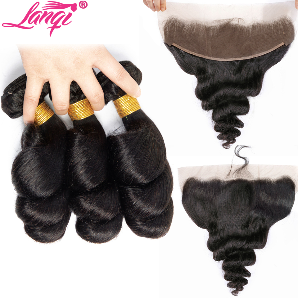 Loose Wave Bundles With Frontal Human Hair Weave Bundles With Frontal Non Remy Peruvian Hair Bundles With Lace Frontal Closure