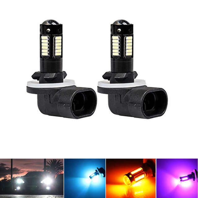 2PC White 30-SMD 4014 880 881 889 H27 LED Replacement Bulbs For Car Fog Lights,ca DRL Lamps,12V Car led,yellow/ICE BLUE