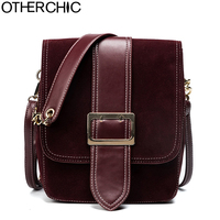OTHERCHIC Nubuck Leather Vintage Women Shoulder Bags Chain Small Brand Messenger Bag Fashion Crossbody Bags Satchel