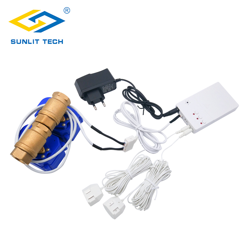 Smart Home System Water Leakage Sensor with Double BSP Valve Water Leak Detector Flood Alarm for