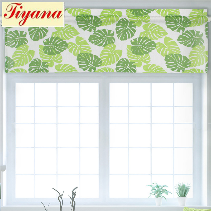 1pc Green Short Curtain Voile Curtain Leaves Valance