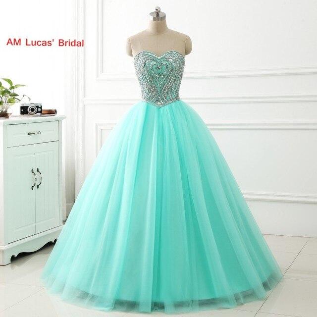 d47015998 Vestido De Quinceanera Vestido con cuentas De diamantes De imitación escote  larga dulce 16 años vestidos