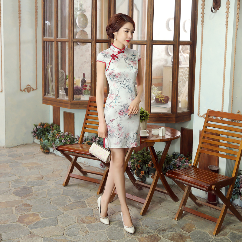 High Quality Chinese Women Traditional Silk Qipao New Style Short Mini Cheongsam Sexy Slim Summer Dress Size S M L XL XXL Z0033 s xl 2016 new summer
