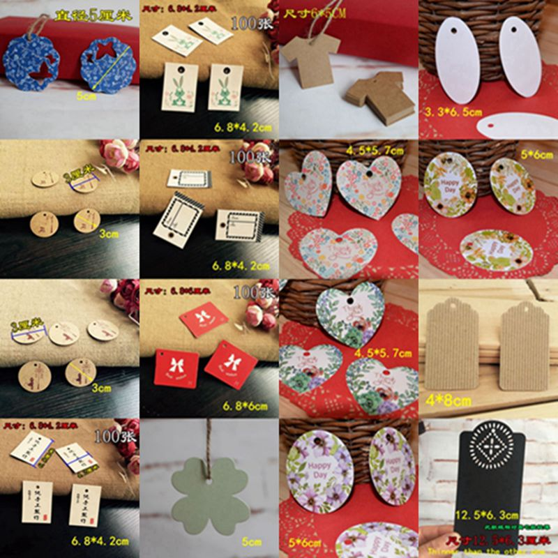 DIY Various Shapes Kraft Paper Labels Trunk Food Price Marks Tags for Wedding Decoration Gift Greetings Vintage Card 100pcs/bag address adhesive stickers labels 100 100mm 500 sheets thermal papers for labeling and sealing marks wholesale with a good price