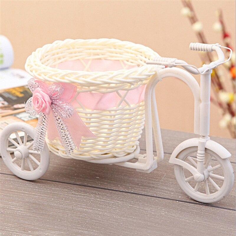 1pcs Handmade Rattan Weave Bicycle Flower Basket Home Garden Decor Wedding Party Decoration Flower Holder
