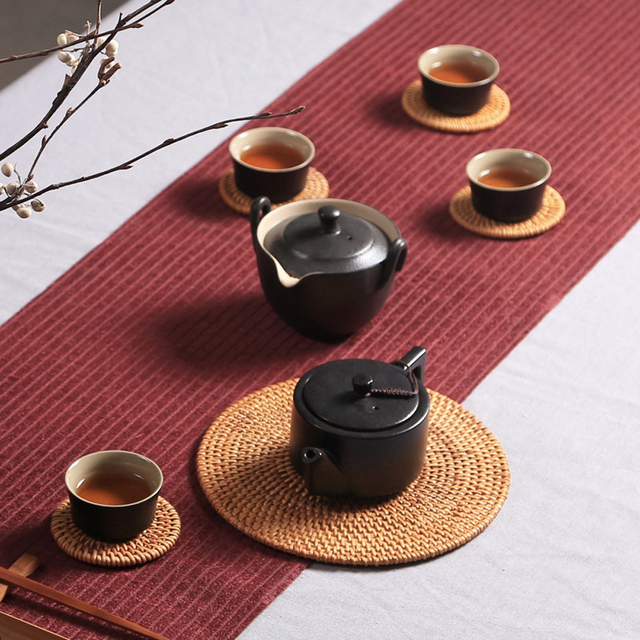 Conscious Home Handwoven Rattan Coaster Set